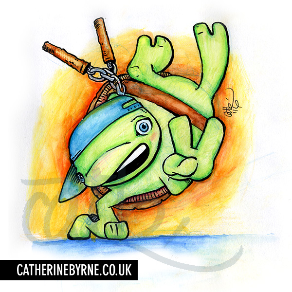 TMNT turtle tots - michelangelo - baby b-boy - by cat byrne