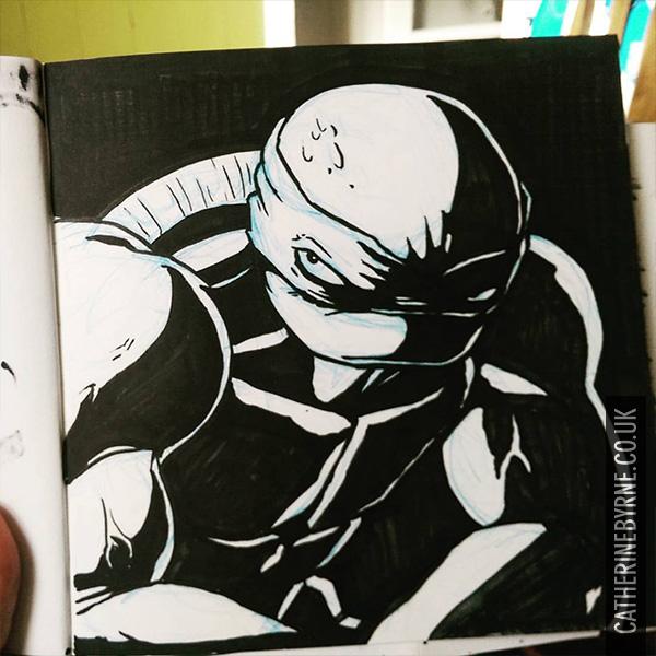 Broody Raph inks By Cat Byrne TMNT fan art