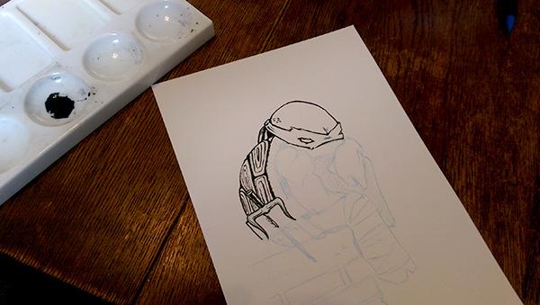 Raphael in a mood TMNT fan art inking work in progress by Cat Byrne