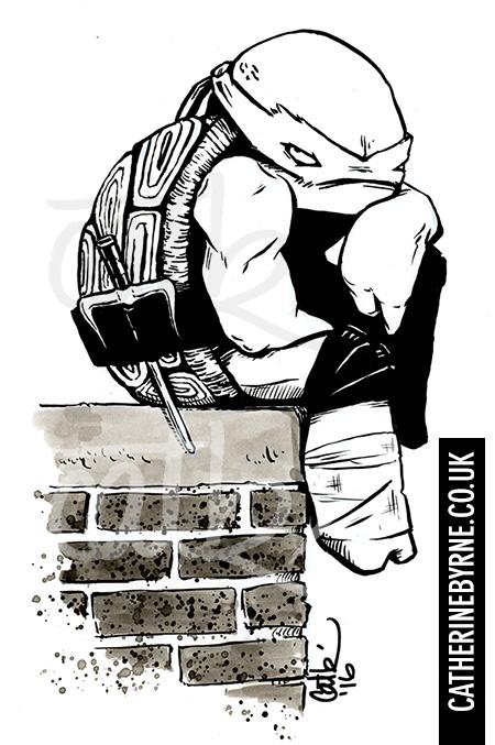Raphael in a mood inktober inks by Cat Byrne - TMNT ninja turtles fan art