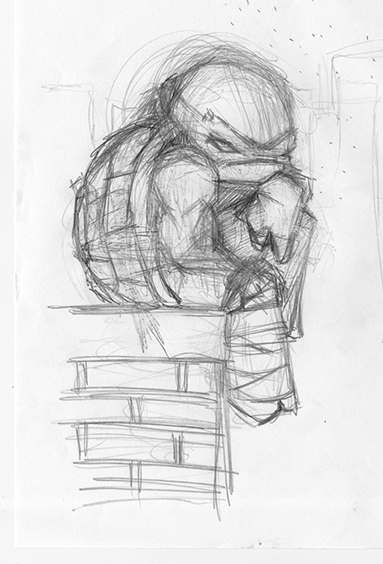 raphael in a mood rough pencils by Cat Byrne