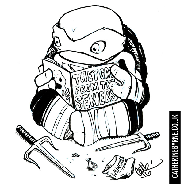 Chibi Raph reading a monster comic by Cat Byrne for inktober 2016 TMNT fan art