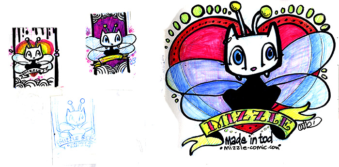 Mizzle bee sketches by Cat Byrne - Mizzle Comic