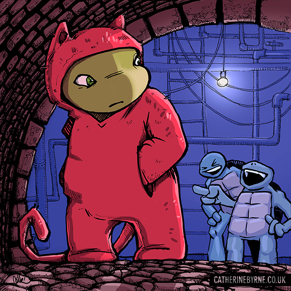 Raph in a kitty onesie - TMNT fan art by Cat Byrne