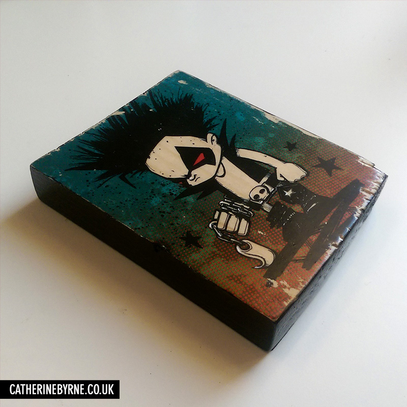Chibi Lobo - printed wood block by Cat Byrne