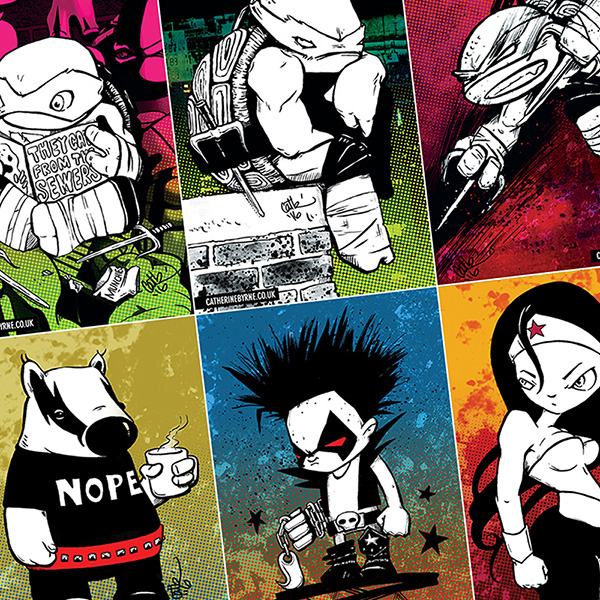 Postcard designs by Cat Byrne - TMNT, wonder Woman, Lobo, Mizzle and Muggy