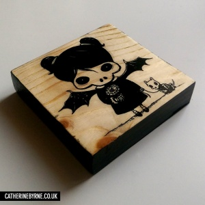 Death Girl - printed wood block by Cat Byrne
