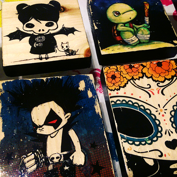Printed wood blocks by Cat Byrne - TMNT / ninja turtles, goth, candy skull, lobo