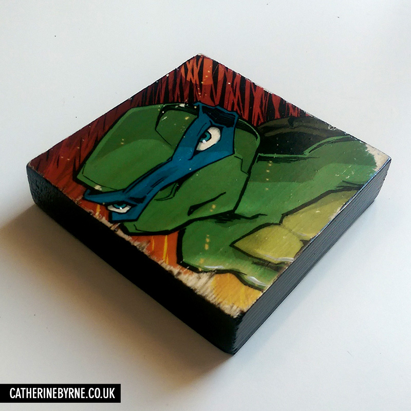 Leo Fire - printed wood block by Cat Byrne TMNT art