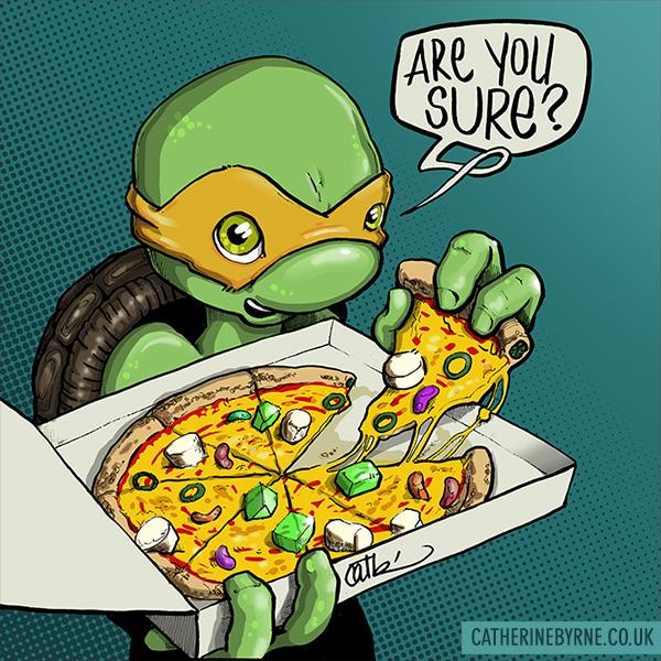 Mikey's pizza, tmnt fan art by Cat Byrne