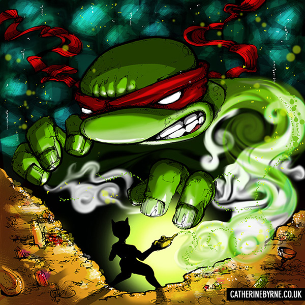 The Awakening - Raphael Genie TMNT fan art by Cat Byrne - Mizzle Comic crossover