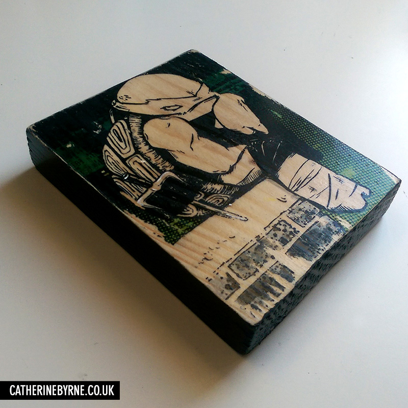 In a Mood - TMNT Raphael art - printed wood block by Cat Byrne