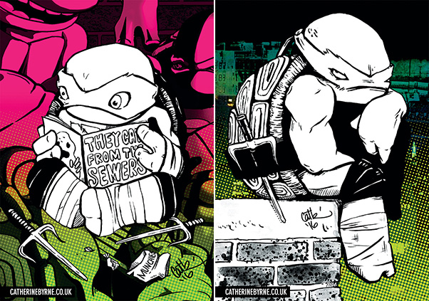TMNT Raphael chibi sewers and rooftop in a mood - art by Cat Byrne
