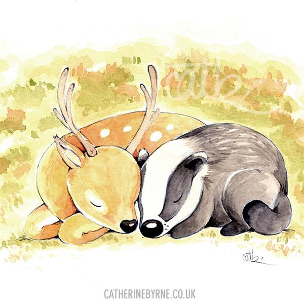 Badger and deer by Cat Byrne