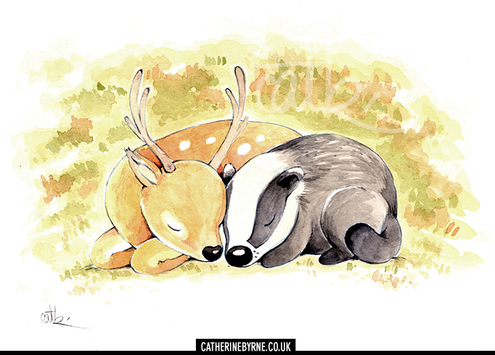 Badger and stag sleeping and cuddling, by Cat Byrne