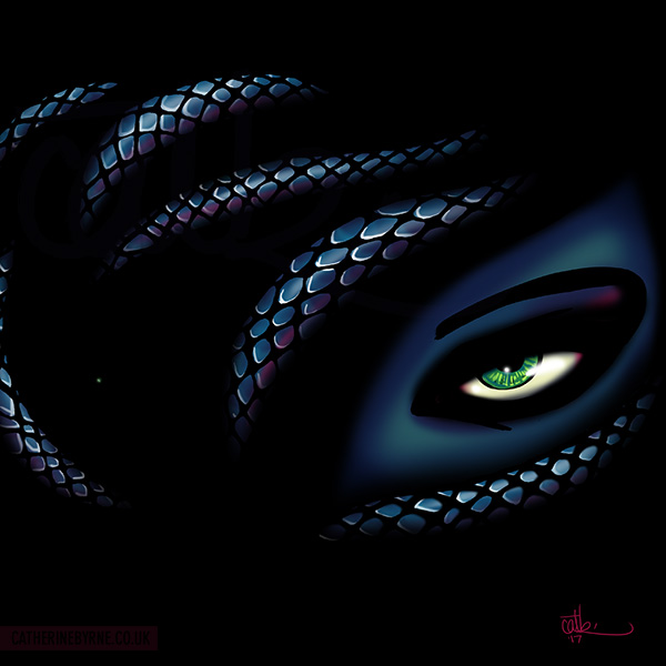 Medusa snake woman with green eyes art by Cat Byrne