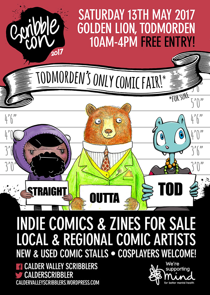 2017 Scribblecon poster Todmorden Calder Valley comic con