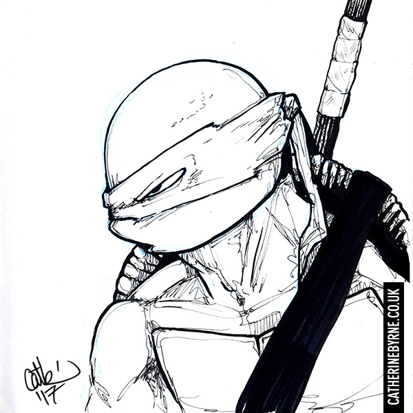 Donatello TMNT ink drawing by Cat Byrne