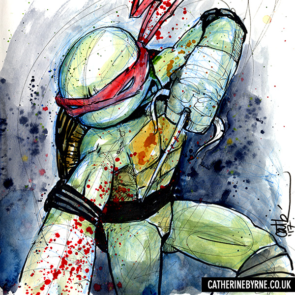 Raphael Gore Blood splatter art by Cat Byrne TMNT