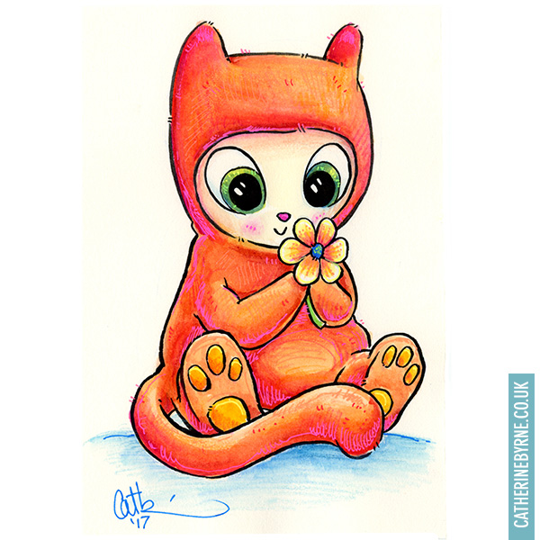 kitten in a onesie smelling a flower illustration by cat byrne art