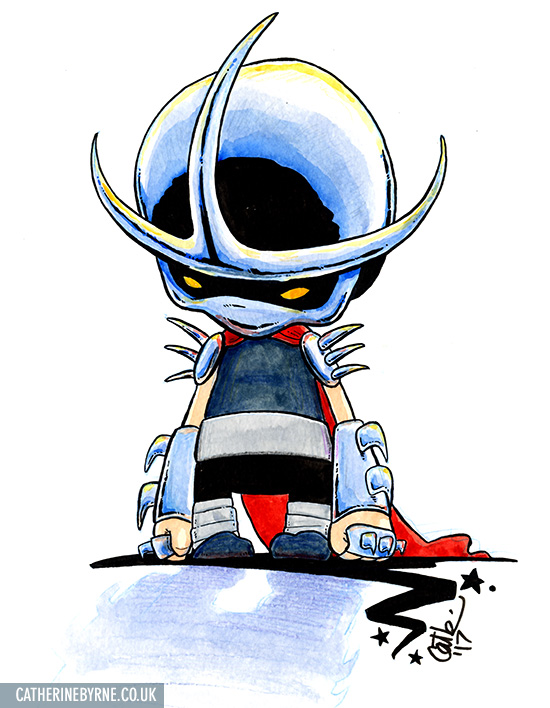 Elite Guard Mini Shredder chibi watercolor and ink by Cat Byrne