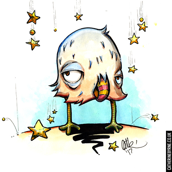 Flirty Bertie bird comic art by Cat Byrne