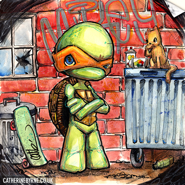 TMNT Michelangelo and Klunk sketch by Cat Byrne