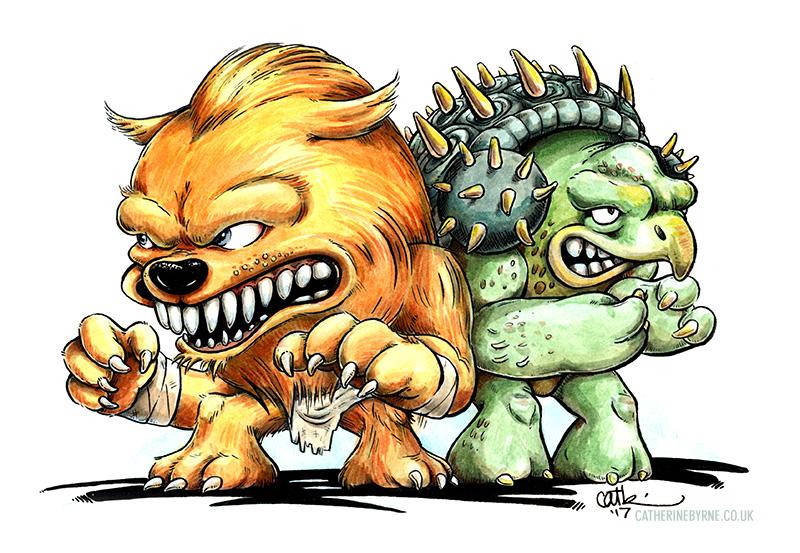 TMNT Tokka and Rahzar original art for sale by Cat Byrne