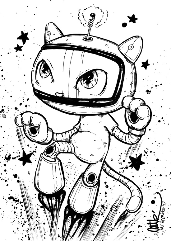 Space Kitty Mizzle by Cat Byrne for Inktober 2017