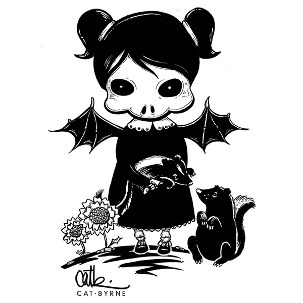Death Girl and Skunks commission by Cat Byrne for inktober 2017