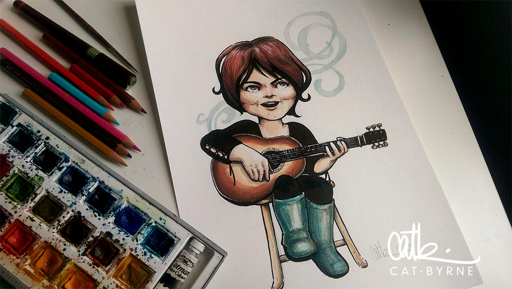 Mabel Blue commission by Cat Byrne - inks, markers and watercolours