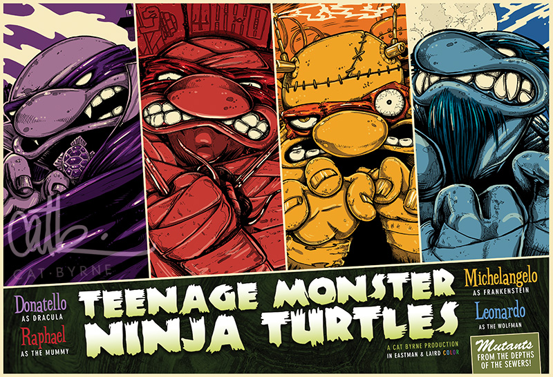 Teenage Mutant Monster Turtles - TMNT limited edition print by Cat Byrne
