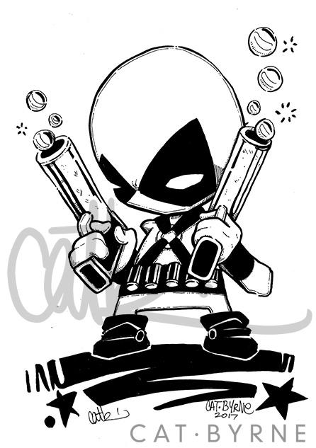 Chibi Deadpool inks by Cat Byrne