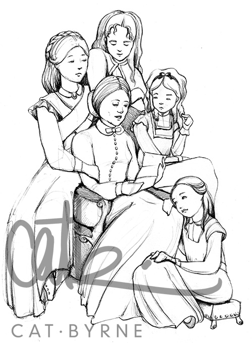 Little Women pencil drawing by Cat Byrne