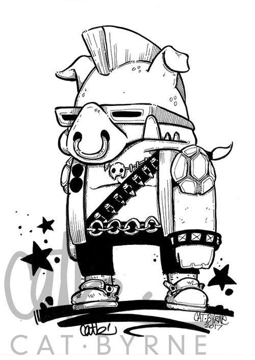 TMNT Bebop original comic art by Cat Byrne