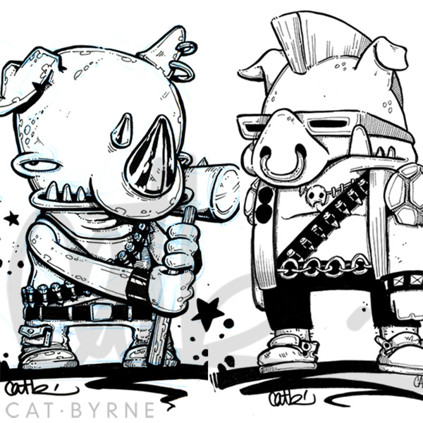 Bebop and Rocksteady from TMNT original art by Cat Byrne