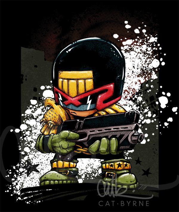 Judge Dredd 2000AD chibi by Cat Byrne