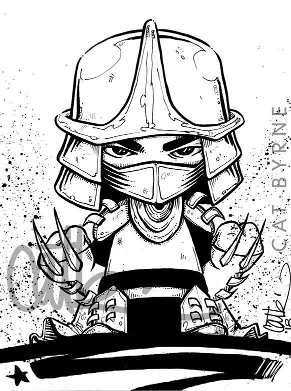 The Shredder chibi inks by Cat Byrne TMNT