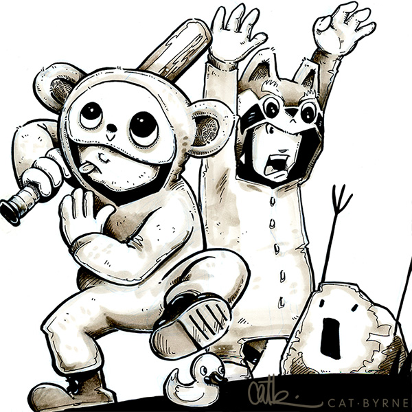 Red Panda and Ninja Monkey by Cat Byrne