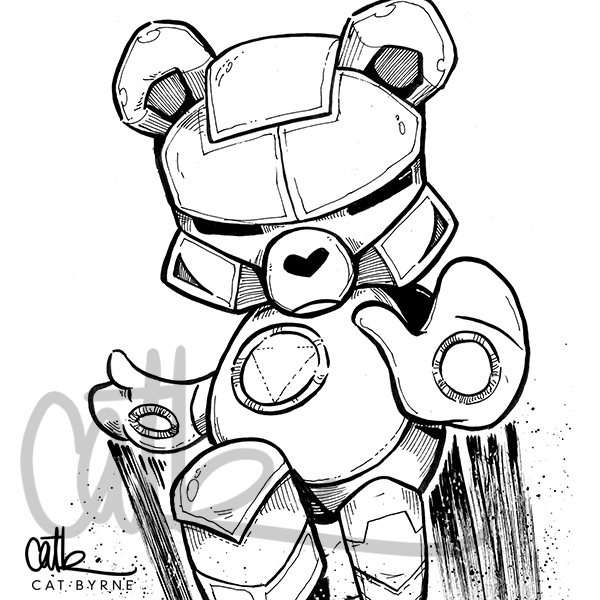 Iron Man care bear ink commission by cat byrne