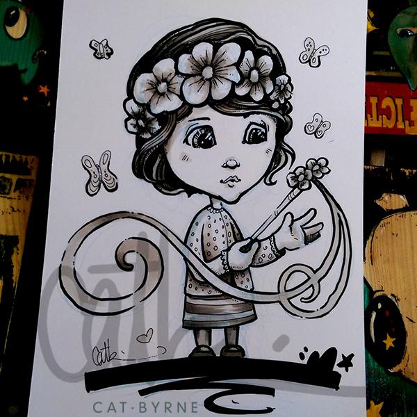 Fairy girl sketch by Cat Byrne