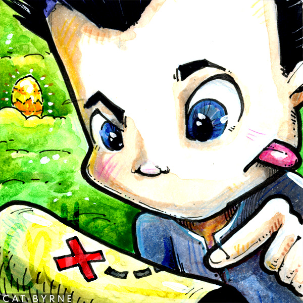 Uncharted Nathan Drake sketch card chibi treasure hunter by Cat Byrne