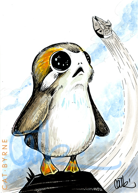 Porg by Cat Byrne - Star Wars viii The Last Jedi commission