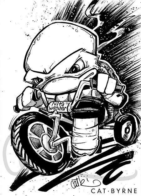 TMNT Chibi Raphael Nightwatcher on a trike by Cat Byrne