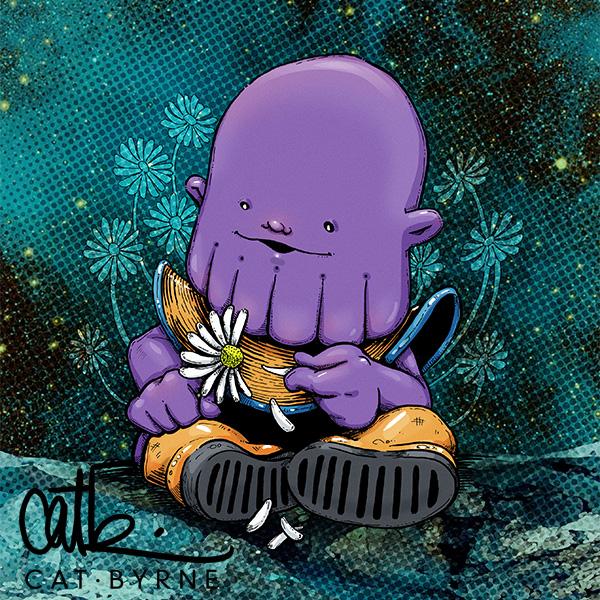 Baby Thanos - chibi art print by Cat Byrne