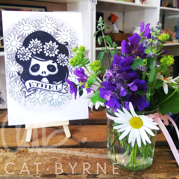 Ethel Death by Cat Byrne and flowers by the Yorkshire Flower Patch
