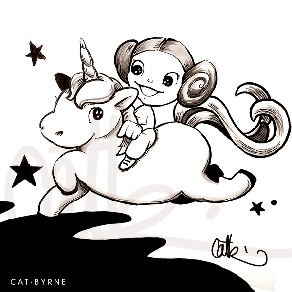 Princess Leia riding her unicorn sketch by Cat Byrne