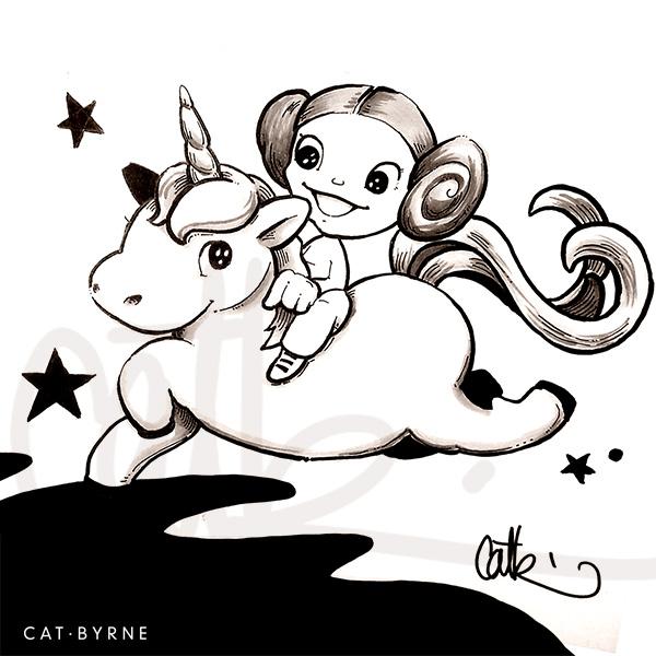 Princess Leia riding her unicorn sketch by Cat Byrne