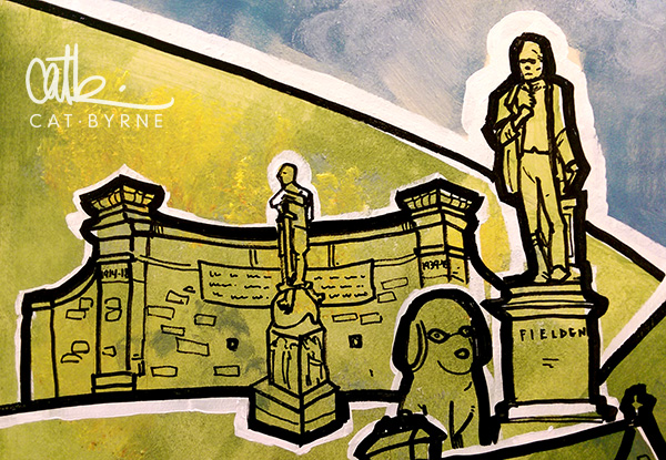 Todmorden Library mural: Garden of Remembrance, John Fielden Statue and the Lucky Dog