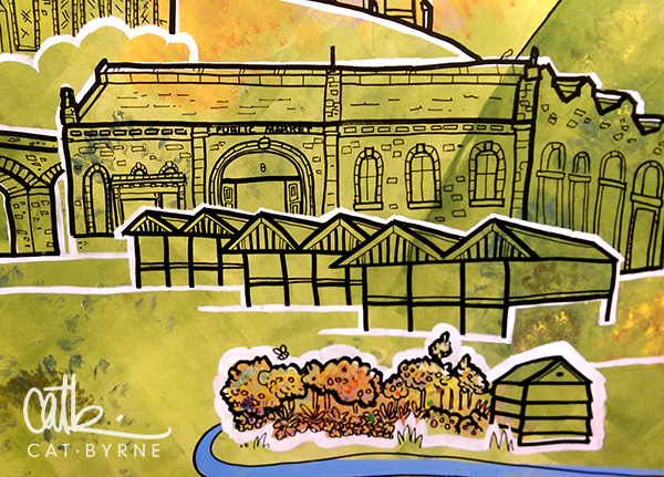 Todmorden Library mural: Railway arches, Indoor and Outdoor market, and Pollination Street to represent Incredible Edible